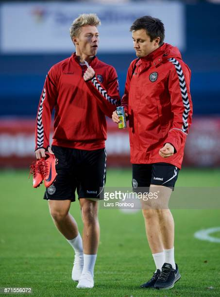 Viktor Fischer and William Kvist arriving to the Denmark training session at Helsingor Stadion on November 7 2017 in Helsingor Denmark