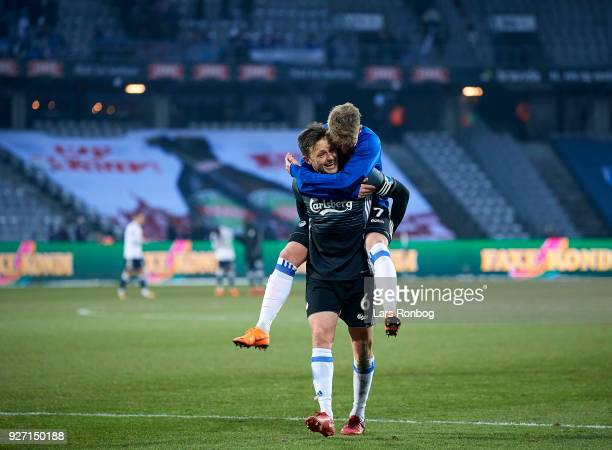 Viktor Fischer and William Kvist of FC Copenhagen celebrate after the Danish Alka Superliga match between AGF Aarhus and FC Copenhagen at Ceres park...
