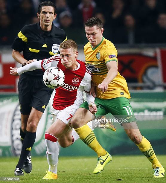 Viktor Fischer Derrik Boerrigter during the Champions League match between Ajax Amsterdam and Celtic FC on November 06 2013 at the Amsterdam Arena in...