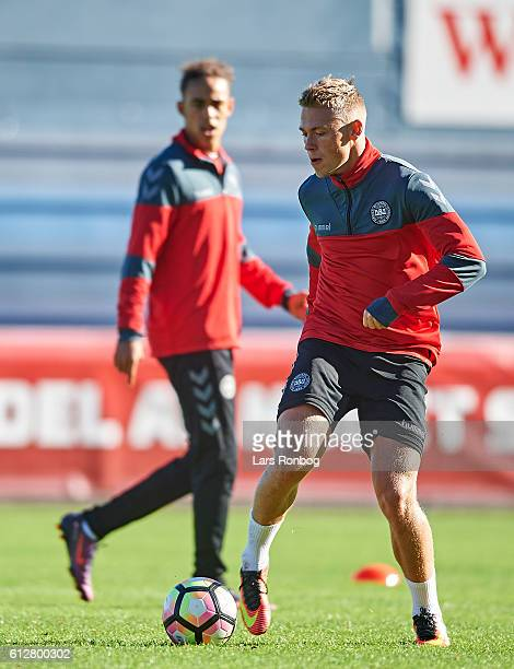 Viktor Fischer in action during the Denmark training session at Helsingor Stadion on October 4 2016 in Helsingor Denmark