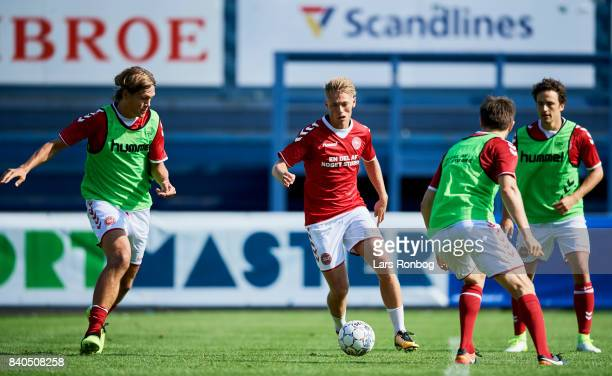 Viktor Fischer in action during the Denmark training session at Helsingor Stadion on August 29 2017 in Helsingor Denmark