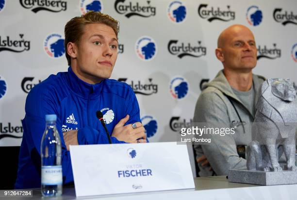 Viktor Fischer new player of FC Copenhagen and Stale Solbakken manager of FC Copenhagen speaking to the media during a press conference at Telia...