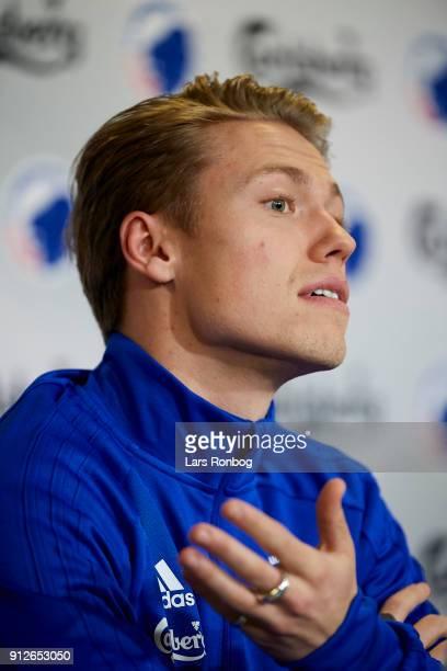 Viktor Fischer new player of FC Copenhagen speaks to the media during a press conference at Telia Parken Stadium on January 31 2018 in Copenhagen...