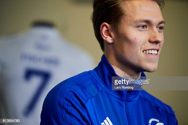 Viktor Fischer new player of FC Copenhagen speaks to the media during a press conference at Telia Parken Stadium on January 31 2018 in Copenhagen...