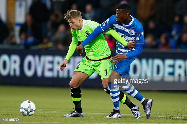 Viktor Fischer of Ajax Kingsley Ehizibue of PEC Zwolle during the Dutch Eredivisie match between PEC Zwolle and Ajax Amsterdam at the IJsseldelta...