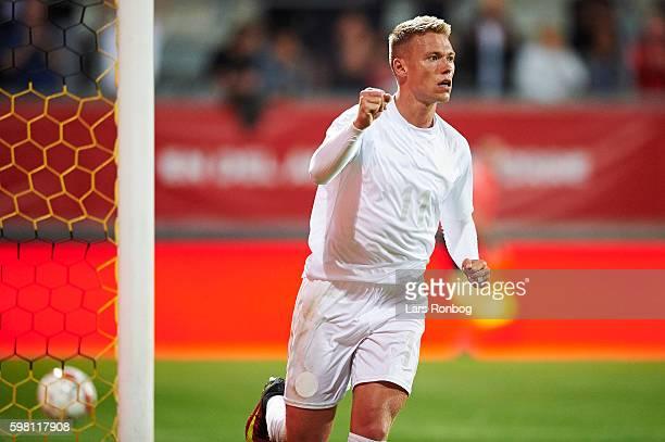 Viktor Fischer of Denmark celebrates after scoring their fourth goal during the international friendly match between Denmark and Liechtenstein at...