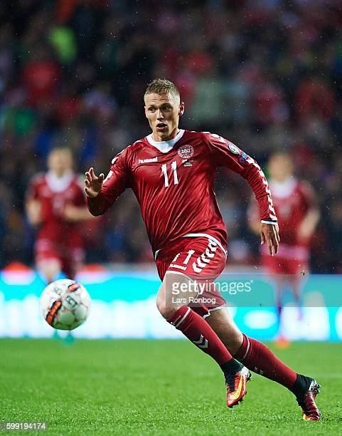 Viktor Fischer of Denmark controls the ball during the FIFA World Cup 2018 european qualifier match between Denmark and Armenia at Telia Parken...