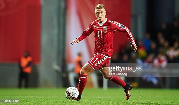 Viktor Fischer of Denmark controls the ball during the FIFA World Cup 2018 european qualifier match between Denmark and Montenegro at Telia Parken...