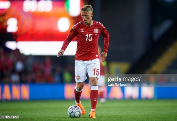 Viktor Fischer of Denmark controls the ball during the international friendly match between Denmark and Mexico at Brondby Stadion on June 9 2018 in...
