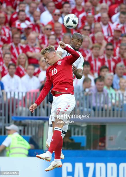 Viktor Fischer of Denmark Djibril Sidibe of France during the 2018 FIFA World Cup Russia group C match between Denmark and France at Luzhniki Stadium...