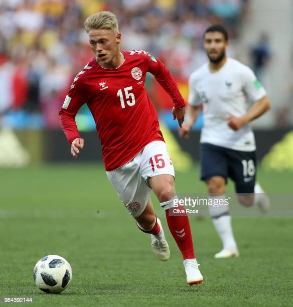 Viktor Fischer of Denmark in action during the 2018 FIFA World Cup Russia group C match between Denmark and France at Luzhniki Stadium on June 26...