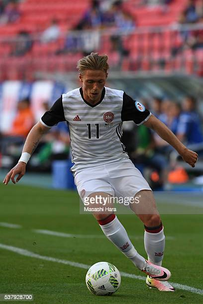 Viktor Fischer of Denmark in action during the international friendly match between Bosnia and Herzegovina and Denmark at the Toyota Stadium on June...