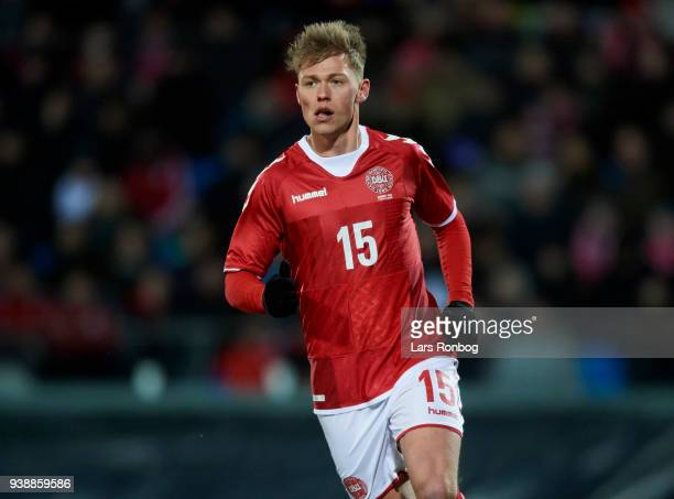 Viktor Fischer of Denmark in action during the International friendly match between Denmark and Chile at Aalborg Stadion on March 27 2018 in Aalborg...