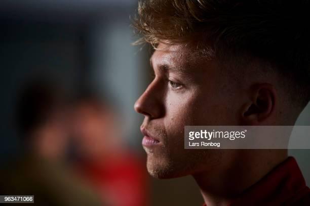 Viktor Fischer of Denmark on the press conference prior to the Denmark training session Helsingor Stadion on May 28 2018 in Helsingor Denmark