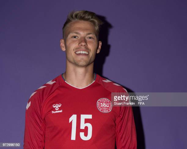 Viktor Fischer of Denmark poses for a picture during the official FIFA World Cup 2018 portrait session at on June 12 2018 in Anapa Russia