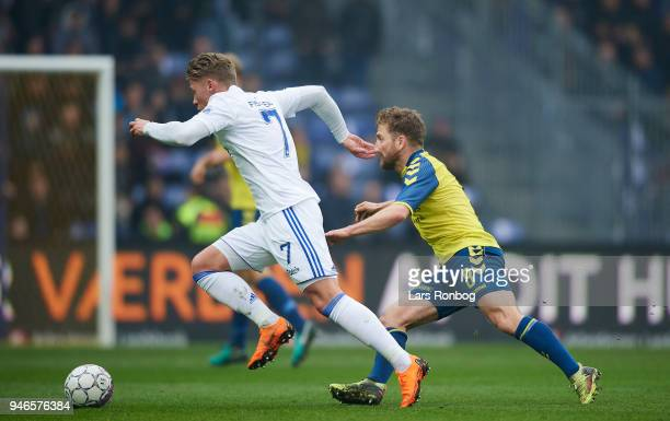 Viktor Fischer of FC Copenhagen and Kasper Fisker of Brondby IF compete for the ball during the Danish Alka Superliga match between Brondby IF and FC...