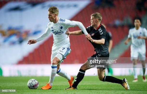 Viktor Fischer of FC Copenhagen and Kasper Kusk of AaB Aalborg compete for the ball during the Danish Alka Superliga match between FC Copenhagen and...