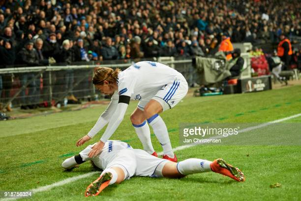Viktor Fischer of FC Copenhagen and Peter Ankersen of FC Copenhagen celebrate after the 10 goal from Viktor Fischer during the UEFA Europa League...