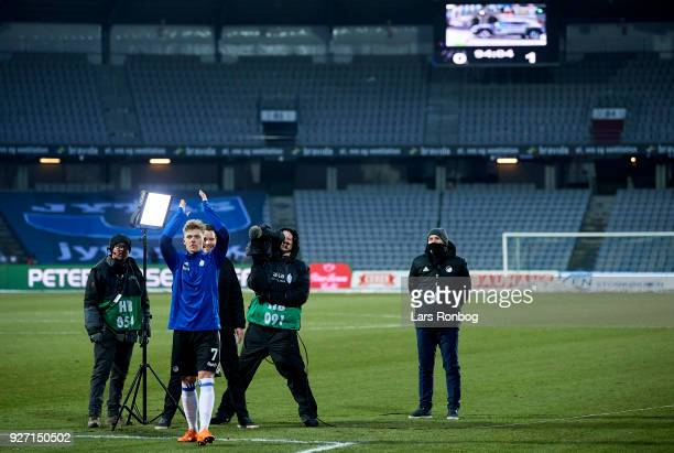 Viktor Fischer of FC Copenhagen celebrates after an interview with the media in the Danish Alka Superliga match between AGF Aarhus and FC Copenhagen...