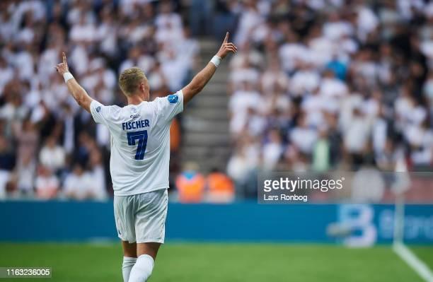 Viktor Fischer of FC Copenhagen celebrates after scoring their first goal during the UEFA Europa League Playoffs 1st Leg match between FC Copenhagen...