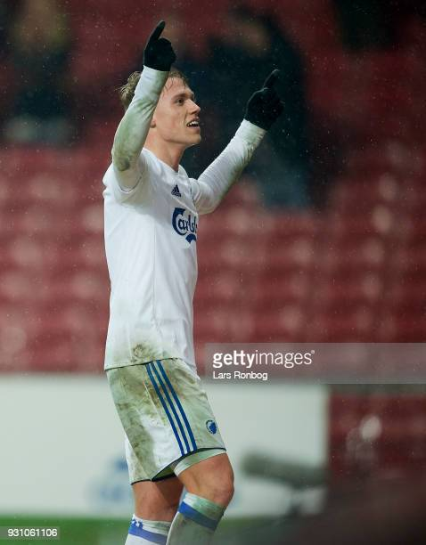 Viktor Fischer of FC Copenhagen celebrates after scoring their fourth goal during the Danish Alka Superliga match between FC Nordsjalland and FC...