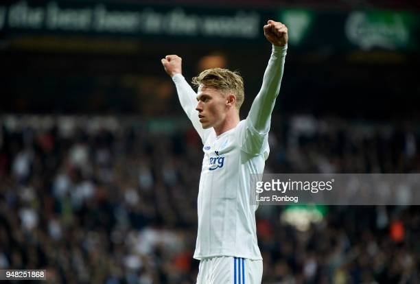 Viktor Fischer of FC Copenhagen celebrates after scoring their second goal during the Danish Alka Superliga match between FC Copenhagen and AaB...