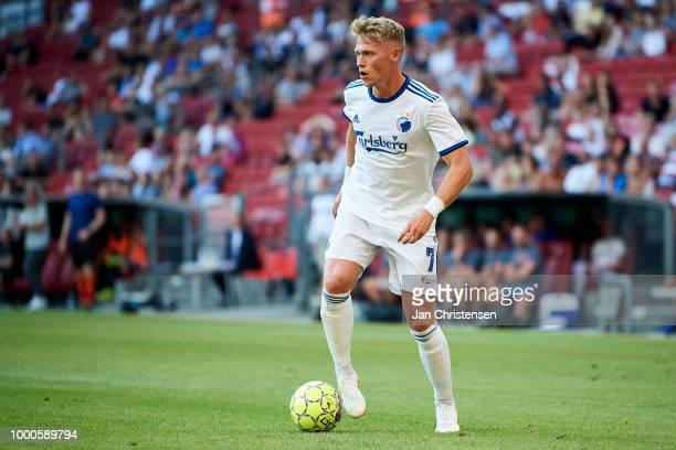 Viktor Fischer of FC Copenhagen controls the ball during the Danish Superliga match between FC Copenhagen and AC Horsens at Telia Parken Stadium on...