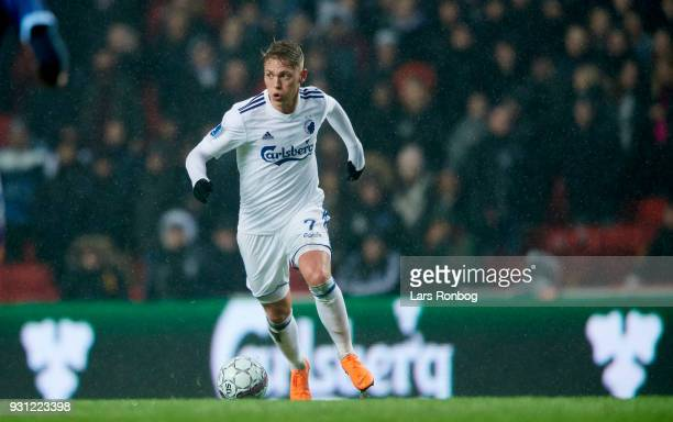Viktor Fischer of FC Copenhagen controls the ball during the Danish Alka Superliga match between FC Copenhagen and FC Helsingor at Telia Parken...