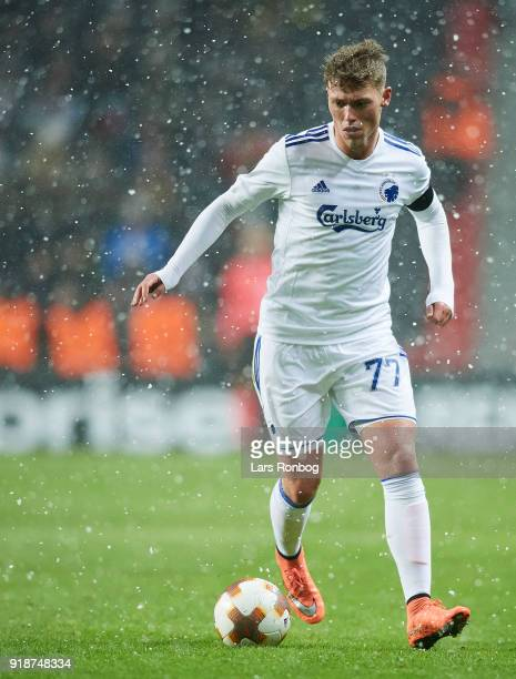 Viktor Fischer of FC Copenhagen controls the ball during the UEFA Europa League round of 32 1 leg match between FC Copenhagen and Atletico Madrid at...