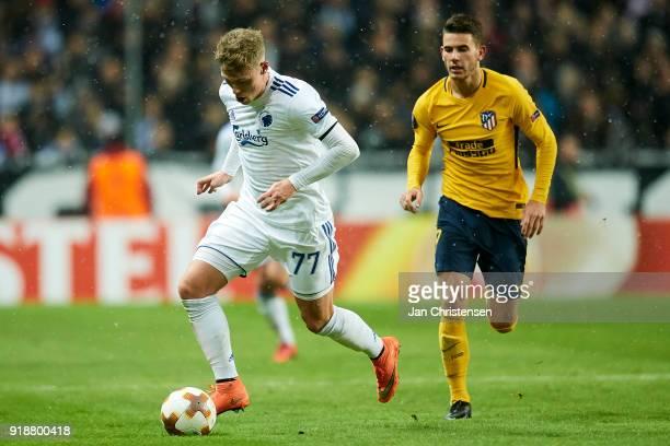 Viktor Fischer of FC Copenhagen controls the ball during the UEFA Europa League match between FC Copenhagen and Atletico Madrid at Telia Parken...