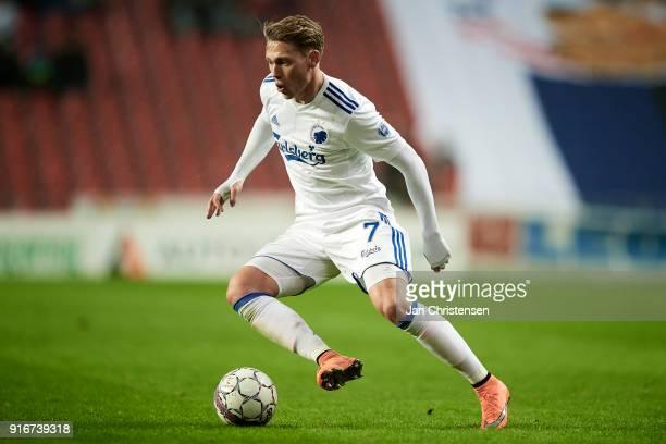 Viktor Fischer of FC Copenhagen in action during the Danish Alka Superliga match between FC Copenhagen and Randers FC at Telia Parken Stadium on...