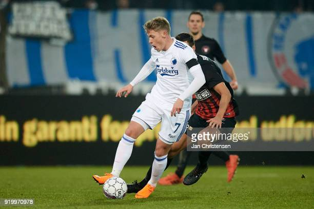 Viktor Fischer of FC Copenhagen in action during the Danish Alka Superliga match between FC Midtjylland and FC Copenhagen at MCH Arena on February 18...