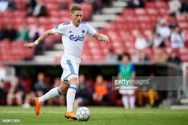 Viktor Fischer of FC Copenhagen in action during the Danish Alka Superliga match between FC Copenhagen and AC Horsens at Telia Parken Stadium on...