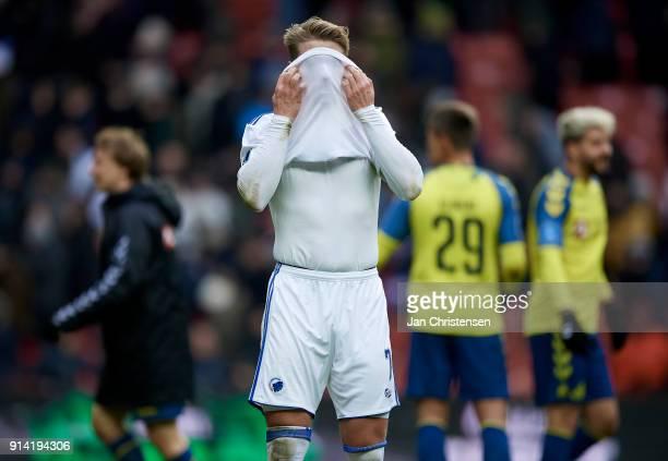 Viktor Fischer of FC Copenhagen looks dejected after the Danish Cup DBU Pokalen match between FC Copenhagen and Brondby IF in Telia Parken Stadium on...