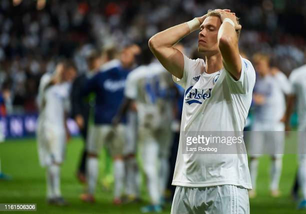 Viktor Fischer of FC Copenhagen looks dejected after the UEFA Champions League 3rd Round Qual match between FC Copenhagen and Crvena Zvezda at Telia...