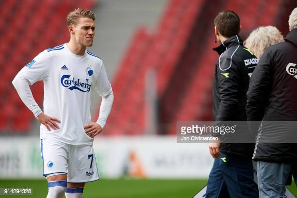 Viktor Fischer of FC Copenhagen prior to the Danish Cup DBU Pokalen match between FC Copenhagen and Brondby IF in Telia Parken Stadium on February 04...