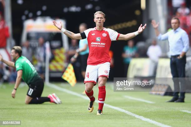 Viktor Fischer of Mainz reacts during the Bundesliga match between 1 FSV Mainz 05 and Hannover 96 at Opel Arena on August 19 2017 in Mainz Germany