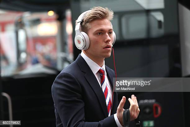 Viktor Fischer of Middlesbrough arrives at the stadium prior to the Premier League match between Middlesbrough and West Ham United at the Riverside...