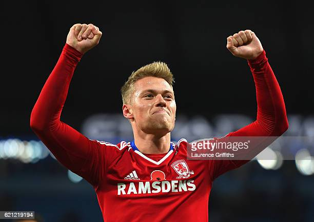Viktor Fischer of Middlesbrough celebrates the result after the match during the Premier League match between Manchester City and Middlesbrough at...