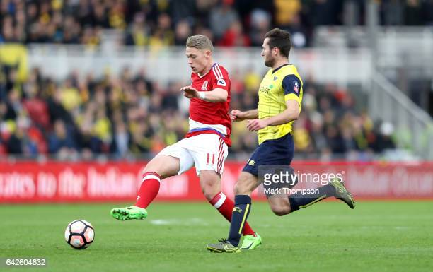 Viktor Fischer of Middlesbrough in action during The Emirates FA Cup Fifth Round match between Middlesbrough and Oxford United at Riverside Stadium...
