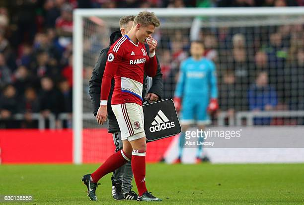 Viktor Fischer of Middlesbrough walks off injured during the Premier League match between Middlesbrough and Swansea City at Riverside Stadium on...