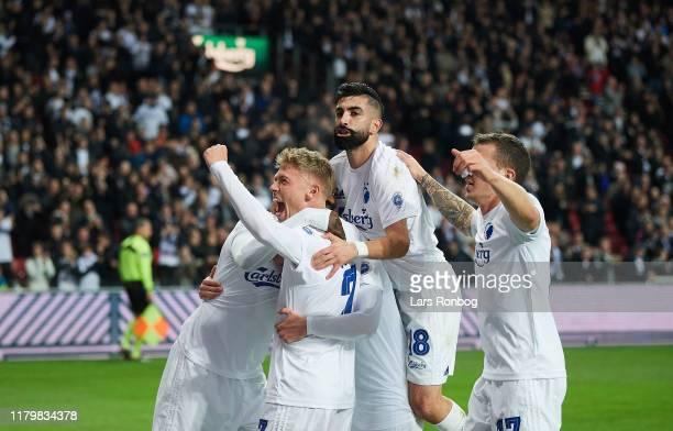 Viktor Fischer Pep Biel Dame N'Doye Michael Santos and Karlo Bartolec of FC Copenhagen celebrate after scoring their first goal during the Danish 3F...