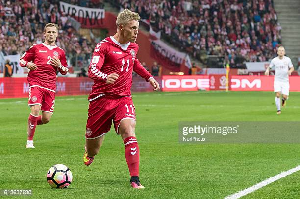 Viktor Fischer Peter Ankersen during the 2018 FIFA World Cup qualification match between Poland and Denmark national football teams at National...