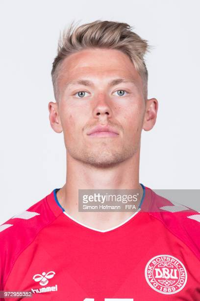 Viktor Fischer Poulsen of Denmark poses during official FIFA World Cup 2018 portrait session on June 12 2018 in Anapa Russia