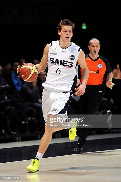 Viktor Gaddefors of SAIE3 in action during the LegaBasket Serie A match between Virtus Bologna SAIE3 and Sutor Montegranaro at Unipol Arena on...