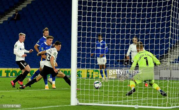 Viktor Gyokeres of Brighton and Hove Albion scores his sides fourth goal during the Carabao Cup second round match between Brighton And Hove Albion...