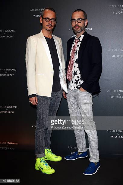 Viktor Horsting and Rolf Snoeren attend a party hosted by Swarovski and Viktor Rolf during the 67th Annual Cannes Film Festival on May 16 2014 in...