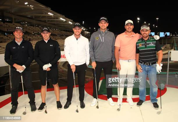 Viktor Hovland, Matthew Fitzpatrick, Danny Willett, Bernd Wiesberger, Brooks Koepka and Louis Oosthuizen pose for a photo during the Hero Challenge...
