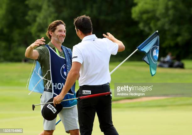 Viktor Hovland of Norway celebrates after his birdie putt on the 18th green during the final round of The BMW International Open at Golfclub Munchen...