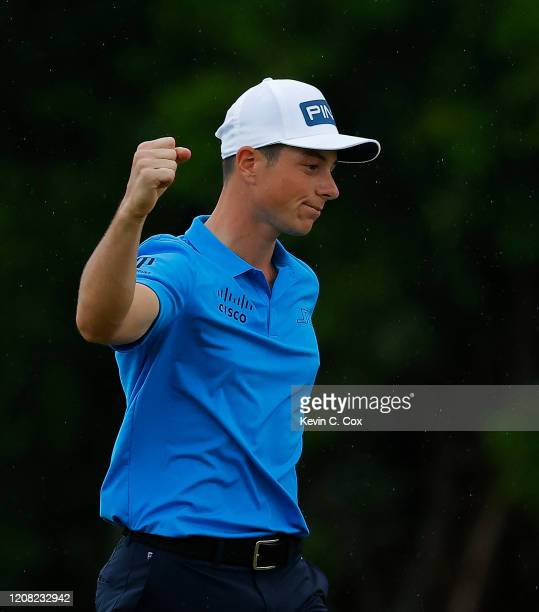 Viktor Hovland of Norway celebrates on the 18th green after making his birdie putt to win the Puerto Rico Open at Grand Reserve Country Club on...